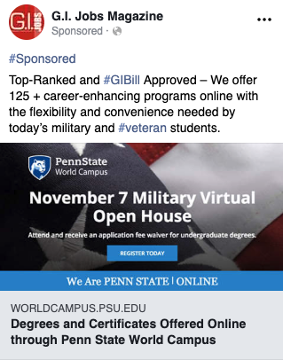 GI Jobs Penn State Ad